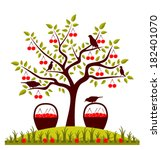 vector cherry tree  basket of... | Shutterstock .eps vector #182401070