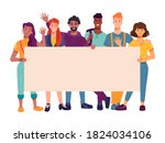 people activists holding...   Shutterstock .eps vector #1824034106