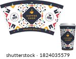 template paper cup for coffee   Shutterstock .eps vector #1824035579