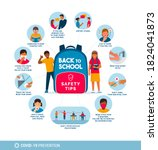 back to school safety tips for... | Shutterstock .eps vector #1824041873