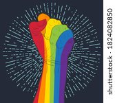 rainbow colored hand with a...   Shutterstock . vector #1824082850