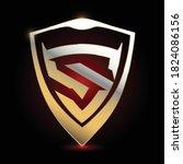 letter s logo design with gold... | Shutterstock .eps vector #1824086156
