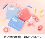 shopping bag for sale banner in ...   Shutterstock .eps vector #1824093740