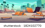 skate park with ramps in... | Shutterstock .eps vector #1824102770