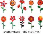Set Of Stylized Flowers...