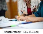 debaters hands while working | Shutterstock . vector #182413328