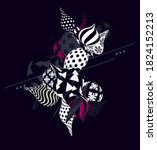 black and white decorative 3d... | Shutterstock .eps vector #1824152213