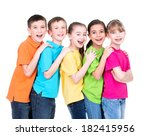 group of happy children in... | Shutterstock . vector #182415956
