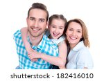caucasian happy young family... | Shutterstock . vector #182416010