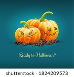 angry pumpkins with angry gre... | Shutterstock . vector #1824209573