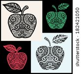 apple collection  stylized... | Shutterstock .eps vector #182421050