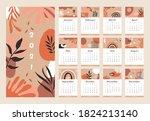 modern calendar 2021 year.... | Shutterstock .eps vector #1824213140