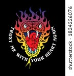 heart biting snake head in fire ... | Shutterstock .eps vector #1824226076