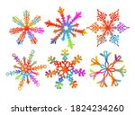 set of rainbow snowflakes. a... | Shutterstock .eps vector #1824234260