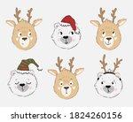 big set of funny reindeer and... | Shutterstock .eps vector #1824260156