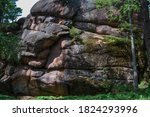 Big Stone Rocks Covered With...