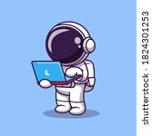 cute astronaut working on...   Shutterstock .eps vector #1824301253