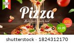 tasty pizza ad with stringy... | Shutterstock . vector #1824312170