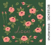 set of vintage roses for design.... | Shutterstock .eps vector #182435138