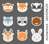 Set Of Cute Funny Animal Heads...