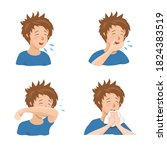 boy sneezing and coughing right ...   Shutterstock .eps vector #1824383519
