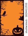 halloween vintage vertical... | Shutterstock .eps vector #1824411533