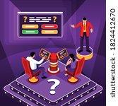 isometric tv quiz square... | Shutterstock .eps vector #1824412670