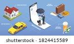 insurance isometric composition ... | Shutterstock .eps vector #1824415589