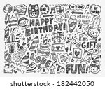 doodle birthday party background | Shutterstock .eps vector #182442050