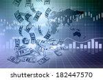 dollar rain  and finance graphs ... | Shutterstock . vector #182447570