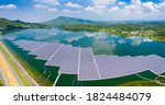 Aerial View Of Floating Solar...