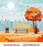 beautiful autumn city park with ... | Shutterstock .eps vector #1824484610