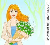 red haired girl with a bouquet...   Shutterstock . vector #182448770