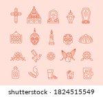 dia de muertos   set of outline ... | Shutterstock .eps vector #1824515549