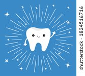 healthy tooth icon. smiling...   Shutterstock . vector #1824516716