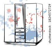 wardrobe in the style of linear ... | Shutterstock .eps vector #1824572729