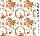 Colorful Fall Seamless Pattern. ...