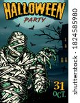 colorful vintage halloween...   Shutterstock .eps vector #1824585980
