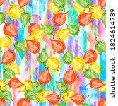 watercolor physalis seamless... | Shutterstock . vector #1824614789