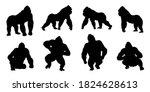 gorilla silhouettes on white... | Shutterstock .eps vector #1824628613