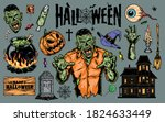 halloween vintage elements set... | Shutterstock .eps vector #1824633449
