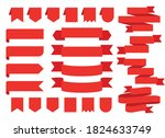 set of red ribbons   stickers....   Shutterstock .eps vector #1824633749