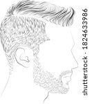 male hairstyle and beard vector ... | Shutterstock .eps vector #1824633986