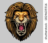 angry roaring male lion head | Shutterstock .eps vector #1824635516