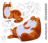 fat cat with sausage. set with... | Shutterstock . vector #1824668660