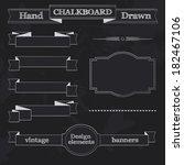 set of chalkboard style banners ... | Shutterstock . vector #182467106