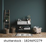 Dark Green Rustic Bathroom ...