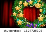 christmas wreath on the... | Shutterstock .eps vector #1824725303