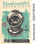 underwater adventures retro... | Shutterstock .eps vector #1824758540