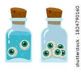 green eyes in jars with and...   Shutterstock .eps vector #1824790160